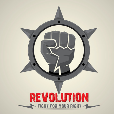 spikes: clenched fist. vector fist icon. revolution fist. freedom concept. collar with spikes