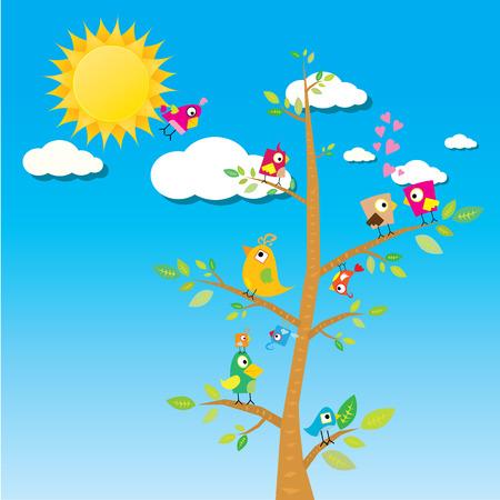 sky sun: birds on branch. cartoon summer illustration. summer kids background
