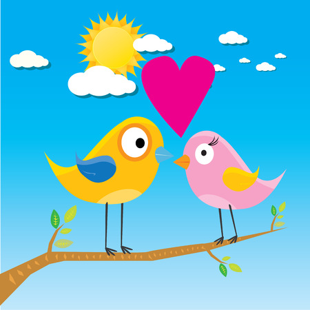 sun flowers: birds on branch. cartoon summer illustration. summer kids background