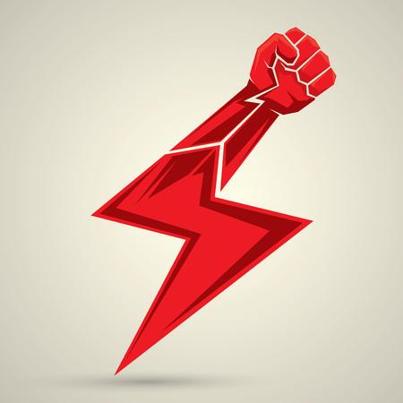 vector fist icon. revolution fist. freedom concept. lightning bolt fist
