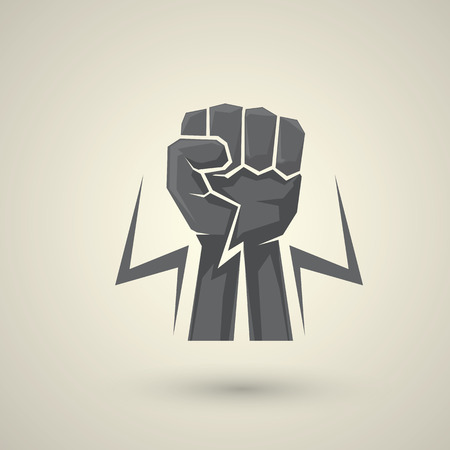 workers rights: freedom concept. vector fist icon.