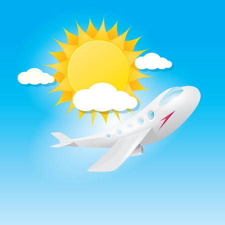 sky sun: airplane in blue sky with sun and clouds. Summer travel by airplane concept illustration.