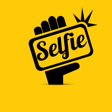 Nemen Selfie Photo on Smart Phone concept pictogram. vector illustratie Stock Illustratie