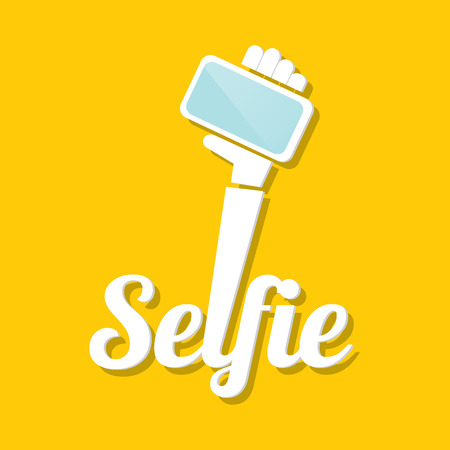 telefono caricatura: Tomando selfie fotos en el icono de Smart concepto de tel�fono. ilustraci�n vectorial