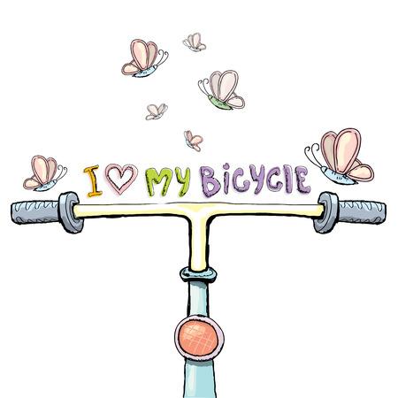 ring road: I love my bicycle concept design. Hand drawn vintage bicycle. doodle vintage bike Illustration