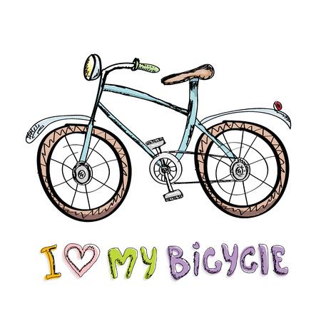 I love my bicycle concept design. Hand drawn vintage bicycle. doodle vintage bike Ilustracja