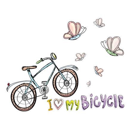 bicicleta: Yo amo a mi concepto de diseño de la bicicleta. Dibujado a mano de la bicicleta de la vendimia. garabatear bici del vintage Vectores