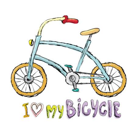 Ik hou van mijn fiets conceptontwerp. Hand getrokken uitstekende fiets. doodle vintage fiets