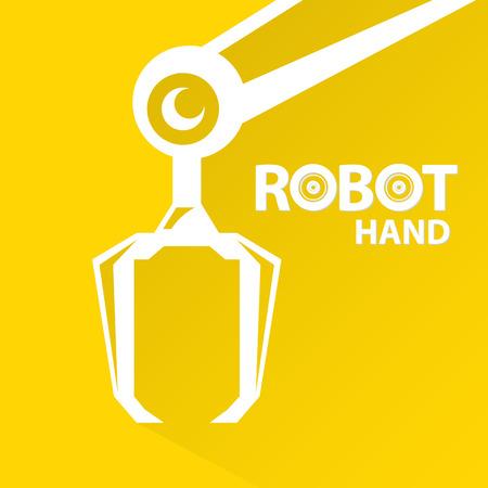 mecanica industrial: Tecnología limpia del diseño del fondo. vector símbolo brazo robótico. robot de la mano.