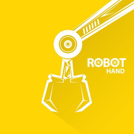 mecanica industrial: Tecnolog�a limpia del dise�o del fondo. vector s�mbolo brazo rob�tico. robot de la mano.