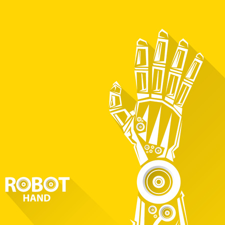 movement control: Clean technology background design template. vector robotic arm symbol. robot hand. Illustration