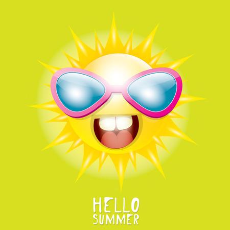 smiling sun: Hello Summer. vector summer smiling sun in blue sky Illustration