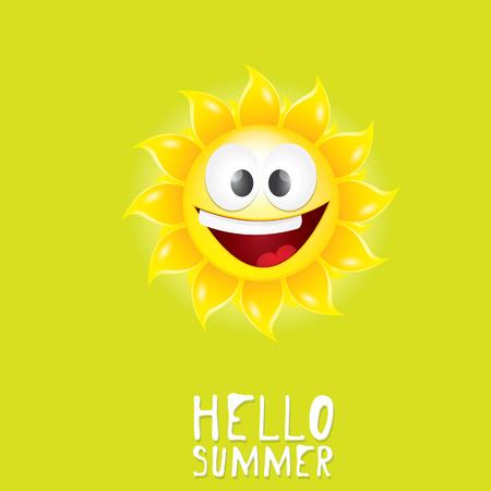 blue smiling: Hello Summer. vector summer smiling sun in blue sky Illustration