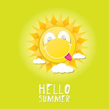 Hello Summer. Vector Summer Smiling Sun In Blue Sky Vector
