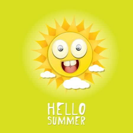 sol caricatura: Hola Verano. vector verano sonriente sol en el cielo azul