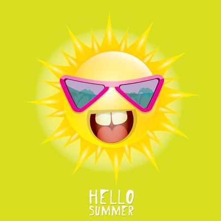 hot day: Hello Summer. vector summer smiling sun in blue sky Illustration