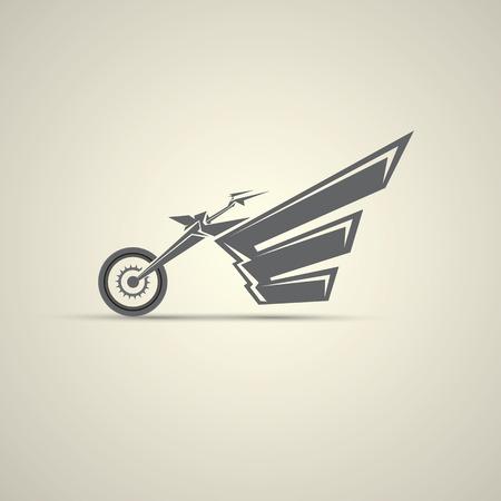 silueta ciclista: etiqueta del vintage de la motocicleta, insignia, elemento de diseño. resumen logo motocicleta