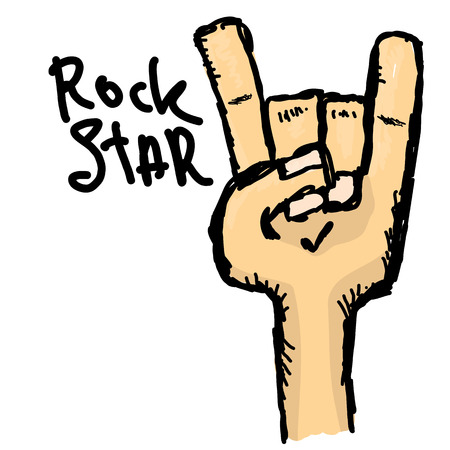 vector doodle hand sign rock n roll music on white. rock n roll icon