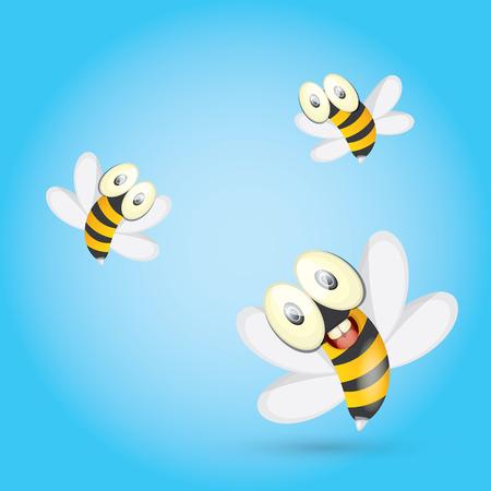 miel de abejas: historieta de la abeja del bebé brillante lindo. ilustración vectorial. Vectores