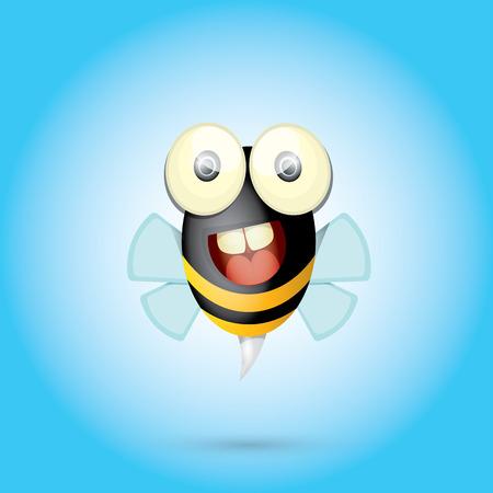 abeja caricatura: historieta de la abeja del bebé brillante lindo. ilustración vectorial. Vectores