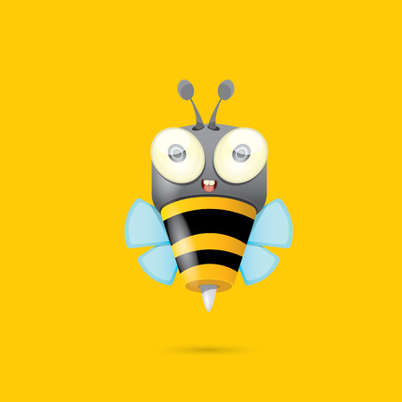 kid cartoon: cartoon cute bright baby bee. vector illustration. Illustration