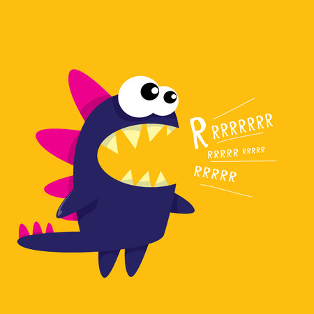 mouth: Vector cartoon funny dragon. Cartoon cute monster Dinosaur.