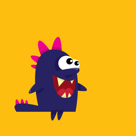 devil cartoon: Vector cartoon funny dragon. Cartoon cute monster Dinosaur.