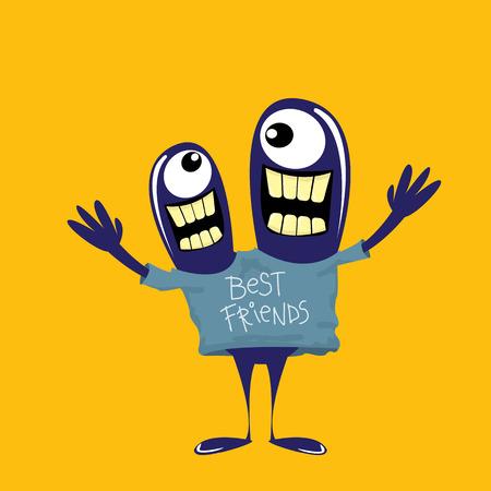 mejores amigas: Monstruos lindos de la historieta. Monstruo amistoso. El mejor concepto amigos