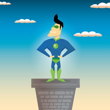 guard duty: vector super hero illustration. vector cartoon super man hero Vectores