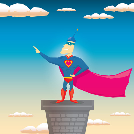 guard duty: vector super hero illustration. vector cartoon super man hero Illustration