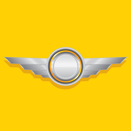 custom car: Vector metallic automotive, motorcycle badge with wings. Signs and labels. Illustration