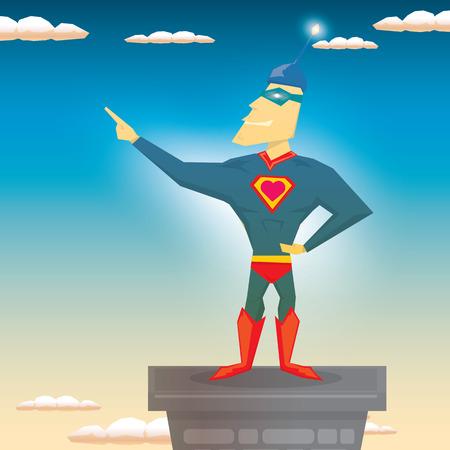 guard duty: vector de s�per h�roe ilustraci�n. vector de dibujos animados super man h�roe