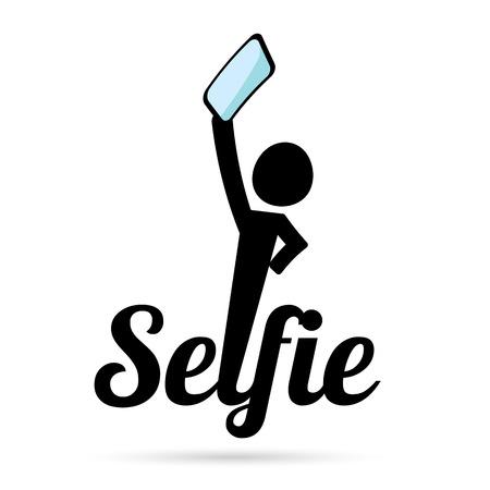 Taking Selfie Photo on Smart Phone concept icon set. vector illustration Illustration