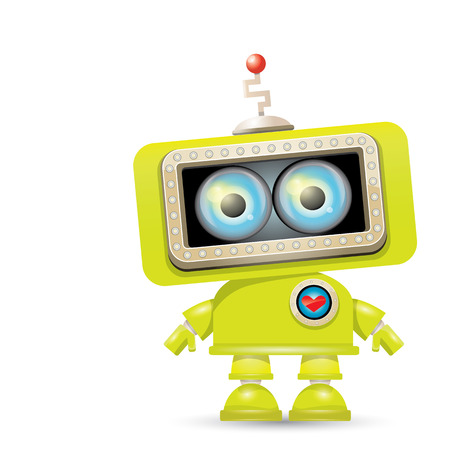vector green cartoon friendly robot isolated on white