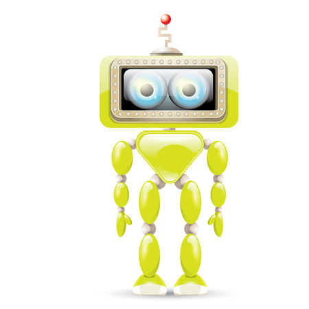 bot: vector green cartoon friendly robot isolated on white