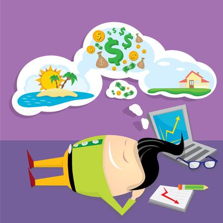 soñando: Hombre de negocios soñando. Concepto de grandes sueños sobre el dinero, la casa y los viajes. dulces sueños de dibujos animados Vectores
