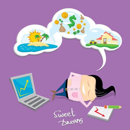 dulces sue�os: Hombre de negocios so�ando. Concepto de grandes sue�os sobre el dinero, la casa y los viajes. dulces sue�os de dibujos animados Vectores