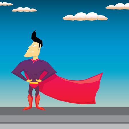 american hero: vector super hero illustration. vector cartoon super man hero Illustration