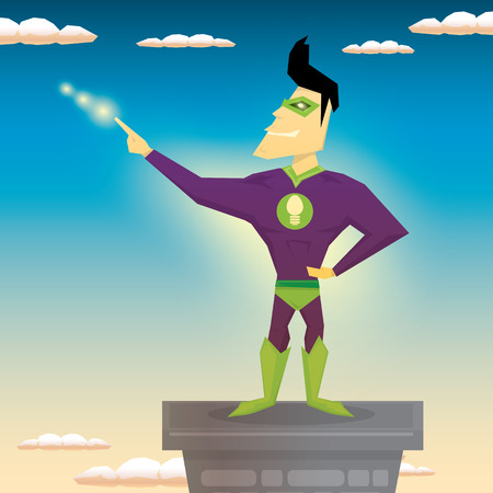 hero: vector super hero illustration. vector cartoon super man hero Illustration