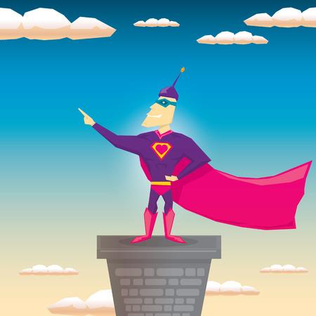 guard duty: vector super hero illustration. vector cartoon super man hero Illustration