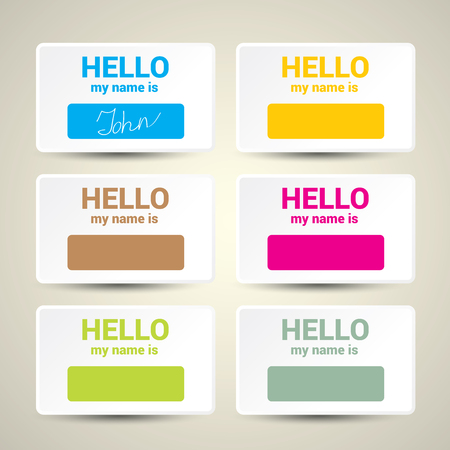name: Hello My Name Is... Name Tag Set. Vector Business card set