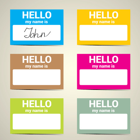 greet: Hello My Name Is... Name Tag Set. Vector Business card set