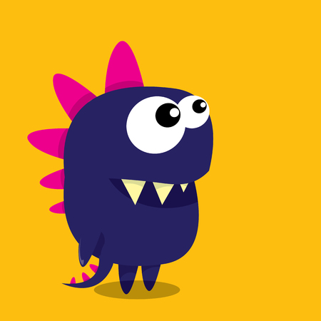 monster face: Vector cartoon funny dragon. Cartoon cute monster Dinosaur.