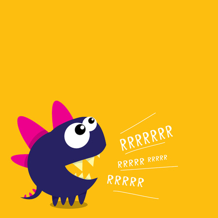 friends fun: Vector cartoon funny dragon. Cartoon cute monster Dinosaur.