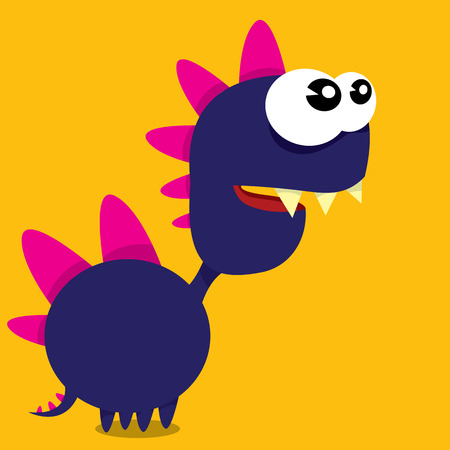dinosaur cute: Vector cartoon funny dragon. Cartoon cute monster Dinosaur.