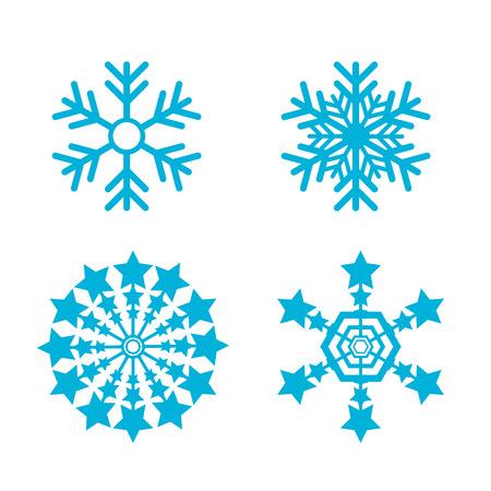 雪片はベクター セットです。雪フレーク アイコン セット