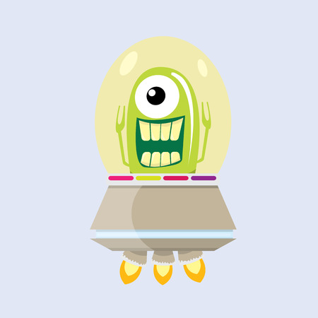 flying saucer: ufo. cute alien vector illustration. flying saucer