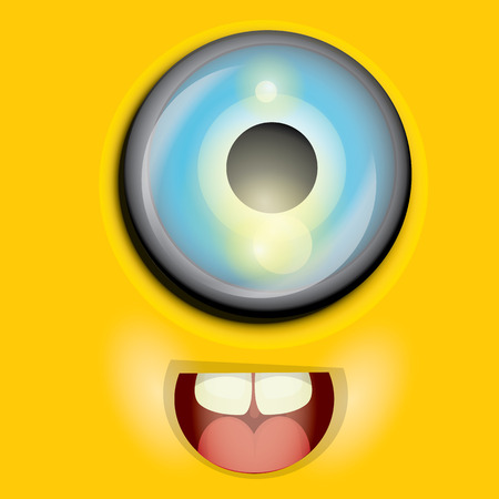 monster face: cute and funny monster face vector illustration Illustration