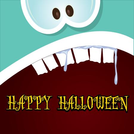monster face: monster face vector illustration. happy halloween greeting card design template Illustration