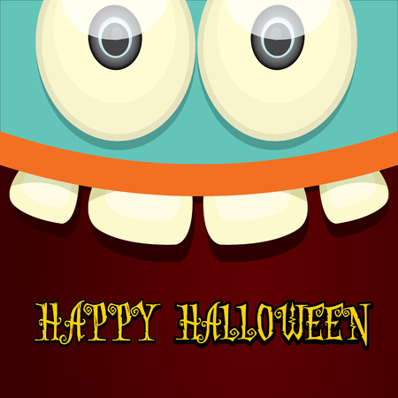 monster face: monster face vector illustration. happy halloween greeting card design template Illustration